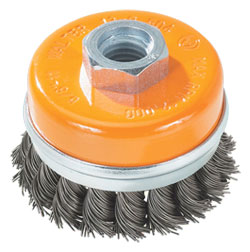 "Wire Cup Brush - 0.020"" Knot Twisted Wire with Ring *For Steel"