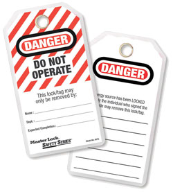 Danger Do Not Operate Tag - Polyester Laminated - White / 497A (12 Pack)
