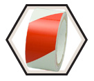 "Reflective Tape - 2"" - Red & White Hatch / RST107 *ENGINEER GRADE"