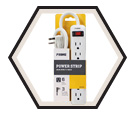 Power Strip - White Plastic / 6 Outlet