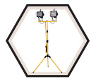 Twin Halogen Work Light w/ Stand - 500W