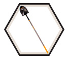 Round Point Shovel w/ Long Handle - 8.5""