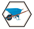 Heavy-Duty Industrial Poly Tray Wheelbarrow - 5.75 ft.3≥
