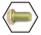"Hex Head Cap Screw 1/4"" UNC - Grade 8 / Yellow Zinc"
