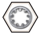 Lock Washer - Internal Tooth - Steel / Zinc