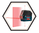 Laser Level - Cross-Line & Plumb Points - Red - AA Battery / GCL 2-160
