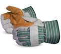 Leather/Cotton Gloves - Lined - Double Thick Cowhide / 66BRR
