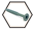Flat 4 Lug Head; #8 Robertson Wood Screws / Green Magnigard® (JUG)