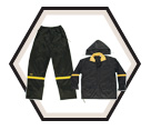 18mm Nylon - 3-Piece Black Rain Suit / R103
