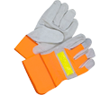 Leather/Cotton Gloves - Lined - Split Cowhide / 30-1-1003 *HI-VIZ