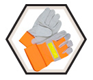 Fitter Gloves - Lined - Split Cowhide / Hi-Viz
