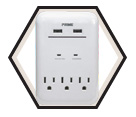 Wall Outlet & Charger - USB - White / PBUSB343S