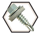 EPDM Washer Head; 1/4-14 Stitch Lapping Self-Drilling Screw / Zinc Plated