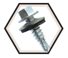 EPDM Washer Head; 1/4-14 Stitch Lapping Screws / RUSPRO® Coated 410 Stainless Steel (BULK)