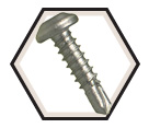 Pan Head 10-16 Robertson TEK Screws / RUSPRO® Coated 410 Stainless Steel (BULK)
