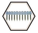 8mm Head Pin - Knurled Super Point Powder Actuated Fasteners / UD (10 Pin Strip)