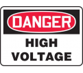 "Danger High Voltage Sign - 10"" x 14"" - Plastic / MELC114VP"