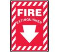 "Fire Extinguisher Down Arrow Sign - 14"" x 10"" - Plastic / MFXG908VP"