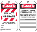 "Danger Do Not Operate Tag - 5-3/4"" x 3-1/4"" - RP-Plastic / MLT406PTP (25 PK)"