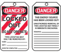 "Danger Locked Out Do Not Operate Tag - 5-3/4"" x 3-1/4"" - RP-Plastic / MLT407PTP (25 PK)"