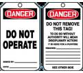 """Danger Do Not Operate Tag - 5-3/4"""" x 3-1/4"""" - RP Plastic / MDT112PTP (25 PK)"""