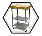 Food Smoker Cart - Foldable - Wood & Steel / BTKITCART