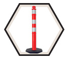 Traffic Post Delineator w/ Base - Reflective - Hi-Viz Orange / 71040