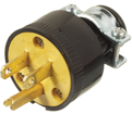 3-Wire Male Rubber Plug w/Clamp - 15 A