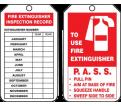 "Fire Extinguisher Inspection Tag - 4-1/4"" x 2-1/8"" - RP-Plastic / TRM101PTP (25 PK)"